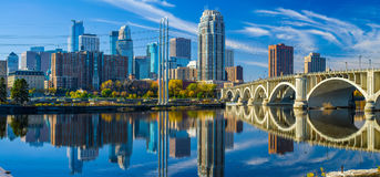 Minneapolis skyline, 3rd avenue bridge, autumn. The 3rd avenue bridge crosses over the mississippi river toward the minneapolis skyline, autumn Stock Photos