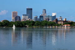 Minneapolis Skyline Reflecting in Lake Calhoun Stock Photography
