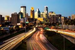 Minneapolis Skyline Sunset. With traffic Royalty Free Stock Photos
