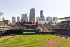 Minneapolis Skyline from Target Field. Minneapolis, MN - September 15, 2012: The skyline of Minneapolis, as seen from Target Field Royalty Free Stock Photo