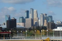 Minneapolis skyline from Uof M. A picture of Minneapolis skyline from U of M in Minneapolis royalty free stock photography