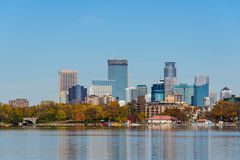 Minneapolis Skyline View from Lake Calhoun Stock Photos