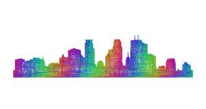 Minneapolis-Skylineschattenbild - Mehrfarbenlinie Kunst Stockfoto