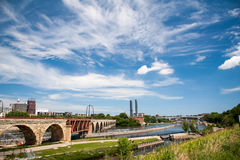 Minneapolis Stone Bridge over the Mississippi River Royalty Free Stock Image