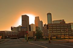 Minneapolis Sunrise. Sunrise in the Minneapolis Warehouse District stock images