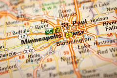 Minneapolis, USA. Map Photography: Minneapolis City on a Road Map Stock Image