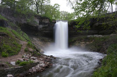 Minnehaha Falls. Rushing waters of Minnehaha Falls in Minneapolis Minnesota stock image
