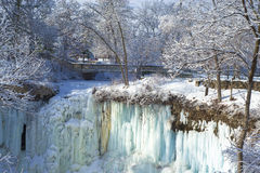 Minnehaha falls, footbridge, winter Stock Photo