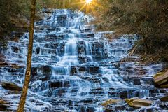 Minnehaha Falls. In north Georgia in winter near Lake Rabun. A short hikes leads you this stunning cascade Royalty Free Stock Image
