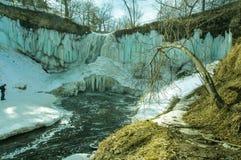 Minnehaha valt bevroren water stock foto