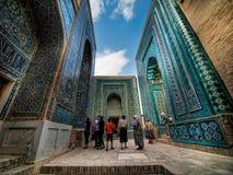 Minnes- complex för Schah-i-Zinda. Uzbekistan. Arkivbild