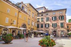 Minnes- hus av Giacomo Puccini den populära dragningen i Lucca, Italien Royaltyfri Bild