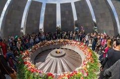Minnes- komplex 24 April 2015 Armenien, Yerevan för armeniskt folkmord Royaltyfri Fotografi