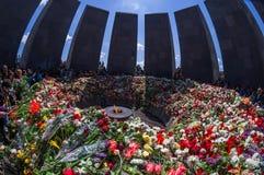 Minnes- komplex 24 April 2015 Armenien, Yerevan för armeniskt folkmord Arkivfoton