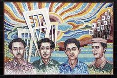 Minnes- mosaik för Ekushey martyr på universitetsområde royaltyfri foto
