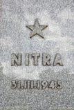 Minnes- platta av den befrielseNitra staden, minnes- monument Slavi Royaltyfri Foto