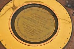 Minnes- platta av den japanska kapitulationen 1945; USS Missouri BB-63 Arkivbild