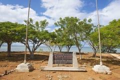 Minnes- platta på fördärvar av den LaIsabella bosättningen i Puerto Plata, Dominikanska republiken Arkivfoto