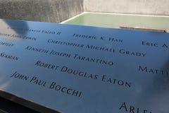 Minnes- springbrunn till offren av September 11, 200 Arkivfoton