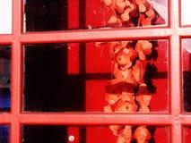 Minnes- vallmo i rött telefonbås Arkivfoto