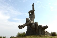 Minnes- Zmievskaya Balka - i minnet av offren av nazism I Augusti 1942, samlas de begick nazisterna utföranden av inhabitan Arkivfoton