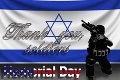 Minnesdagen tackar text`en dig tjäna som soldat ` mot bakgrunden av den Israel flaggan royaltyfri illustrationer