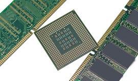Minnesenhet för DDR RAM och modern CPU Arkivfoton
