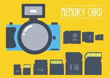 Minneskorttyp med kameran i plan design Arkivfoton