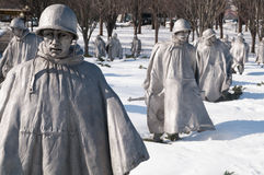 Minnesmärke för koreanskt krig i snö Arkivbilder