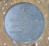 Minnesmärke för Stockport luftkatastrof Fotografering för Bildbyråer