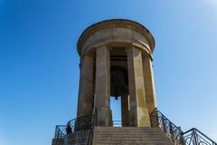 Minnesmärke för Valletta Malta belägringKlocka krig arkivbild