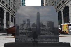 9/11/2001 MINNESMÄRKE I JERSEY CITY NY JERSEN arkivfoton