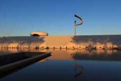 Minnesmärke JK - minnes- staty för futuristisk brasiliansk president in arkivfoton