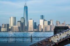 9-11-01 minnesmärke på utbytesstället Jersey City Arkivbild