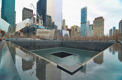 9/11 minnesmärke på World Trade Centerground zero Royaltyfri Bild