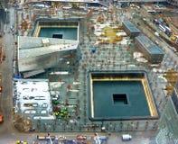 9/11 minnesmärke på World Trade Centerground zero Arkivfoto
