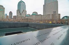 9/11 minnesmärke på World Trade Centerground zero Royaltyfria Foton