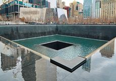 9/11 minnesmärke på World Trade Centerground zero Royaltyfria Bilder