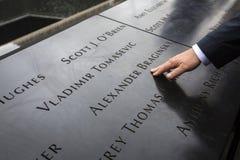 Minnesmärke på World Trade Centerground zero Arkivfoto