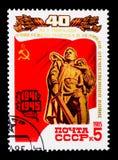 Minnesmärke till de stupade sovjetiska soldaterna, 40th årsdag av Vict Royaltyfria Bilder
