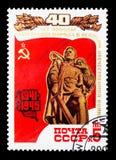 Minnesmärke till de stupade sovjetiska soldaterna, 40th årsdag av Vict Arkivbild