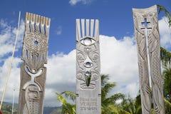 Minnesmärke till den kärn- provningen i Jardins de Paofai, Pape'ete, Tahiti, franska Polynesien Arkivbilder