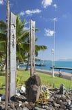Minnesmärke till den kärn- provningen i Jardins de Paofai, Pape'ete, Tahiti, franska Polynesien Fotografering för Bildbyråer
