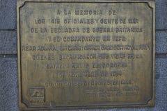 Minnesmärke till den sjö- striden WW1 av Coronel Arkivbilder