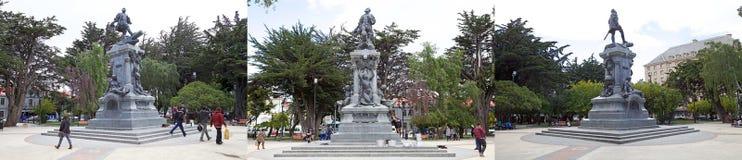 Minnesmärke till Ferdinand Magellan i Punta Arenas, Chile arkivfoton