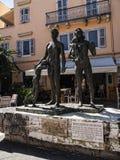 Minnesmärken till det judiska folket som tas från Korfu till deras död på fortet och marina på den grekiska ön av Korfu Arkivfoto