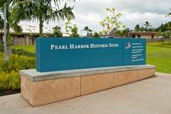 Minnesmärke för tecken för historiska platser för pärlemorfärg hamn Arkivfoton
