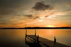 Minnesota湖日落 库存照片