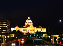 Minnesota capitol building in Saint Paul, MN. In the night Royalty Free Stock Images