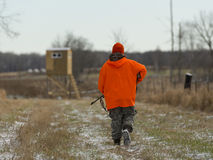 A Minnesota Deer Hunter. Heading out to his deer stand Royalty Free Stock Photos